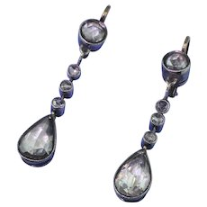Early Victorian 2.20 Carat Rose Cut Diamond Pear Drop Earring, circa 1850