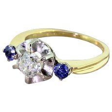 Mid Century 0.88 Carat Old Cut Diamond & Sapphire Three Stone Ring, circa 1955