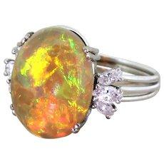Mid Century 7.00 Carat Opal & Marquise Cut Diamond Ring, circa 1965