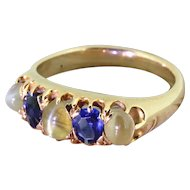 Victorian Cat's Eye & Sapphire Five Stone Ring, circa 1900