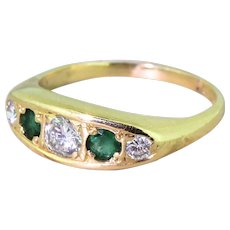 Late 20th Century Brilliant Cut Diamond & Emerald Five Stone Ring, circa 1980