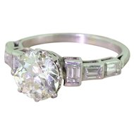 Art Deco 2.49 Carat Old Cut & Baguette Cut Diamond Engagement Ring, circa 1925