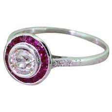 0.40 Carat Old Cut Diamond & Calibre Cut Ruby Target Ring, 18k White Gold