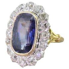 Edwardian 6.90 Carat Natural Ceylon Sapphire & Old Cut Diamond Ring, circa 1910