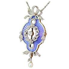 Edwardian Guilloché Enamel, Diamond & Pearl Pendant, circa 1910