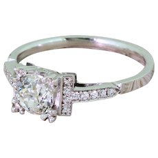 Art Deco 0.70 Carat Old Cut Diamond Engagement Ring, circa 1930