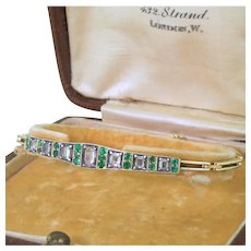 Edwardian Rose Cut Diamond & Emerald Bracelet, with Original Box, circa 1905