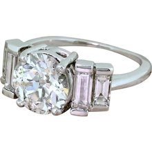 Art Deco 2.35 Carat Old Cut Diamond Engagement Ring, circa 1935