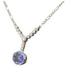 Art Deco 3.15 Carat Sapphire & Old Cut Diamond Necklace, circa 1915
