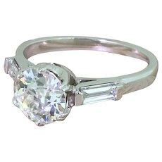 Art Deco 1.38 Carat Old Cut Diamond Solitaire Engagement Ring, circa 1935