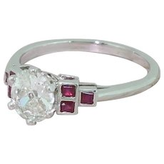 0.80 Carat Old Cut Diamond & Square Cut Ruby Ring, Platinum