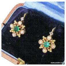 Art Deco Emerald & Seed Pearl Earrings, French, circa 1920