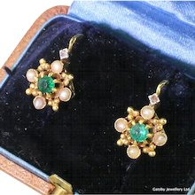 Art Deco Emerald & Seed Pearl Earrings, French, circa 1920