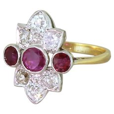 Art Deco 0.73 Carat Ruby & 0.90 Carat Old Cut Diamond Ring, circa 1930