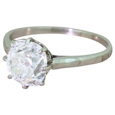 Art Deco 2.32 Carat Old Mine Cut Diamond Engagement Ring, circa 1920