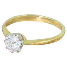 Art Deco 0.73 Carat Old Cut Diamond Engagement Ring, circa 1940