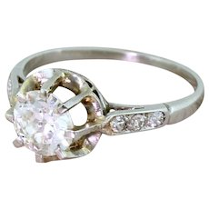 Art Deco 0.85 Carat Old European Cut Diamond Engagement Ring, circa 1935