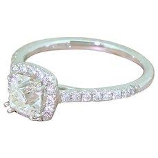 0.92 Carat Old Cushion Cut Diamond Halo Ring, Platinum