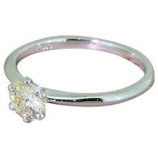 0.50 Carat Old European Cut Diamond Engagement Ring, Platinum