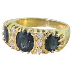 Late 20th Century Sapphire & Diamond Trilogy Ring, circa 1975