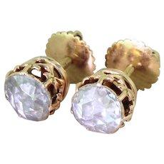 Victorian 1.80 Carat Rose Cut Diamond Stud Earrings, circa 1870
