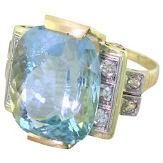 Mid Century 19.80 Carat Aquamarine & Diamond Dress Ring, circa 1955