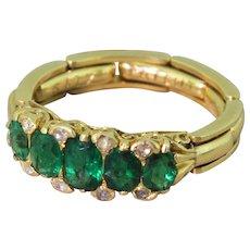 1.00 Carat Emerald Half Hoop Ring, with Flexible Shank, 18k Gold