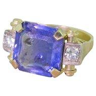 Retro 12.01 Carat Octagonal Cut Natural Ceylon Sapphire Ring, circa 1950