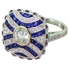 0.65 Carat Old European Cut Diamond & Calibré Cut Sapphire Ring, 18k White Gold
