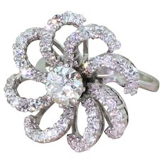 "Mid Century 2.93 Carat Diamond ""Flower"" Dress Ring, circa 1965"