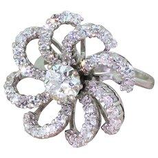 "Mid Century 2.93 Carat Diamond ""Flower"" Dress Ring, circa 1965"