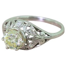 Edwardian 1.25 Light Yellow Old Cut Diamond Engagement Ring, circa 1910