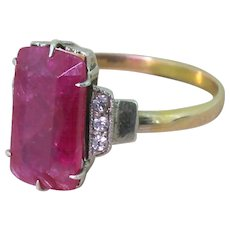 Mid Century 3.07 Carat Rectangular Cut Ruby Solitaire Ring, circa 1955