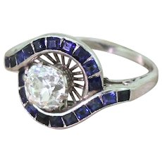 Mid Century 1.43 Carat Old Cut Diamond & Calibré Cut Sapphire Ring, circa 1960