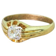 Early 20th Century 0.87 Carat Old Cut Diamond Solitaire Ring, dated 1926