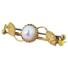 Art Nouveau Natural Saltwater Pearl Pin Brooch, circa 1900