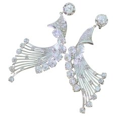 "Mid Century 6.68 Carat Old Cut & Rose Cut Diamond ""Wing"" Earrings, French, circa 1960"
