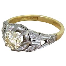 Art Deco 0.88 Carat Greenish Yellow Transitional Cut Diamond Engagement Ring, circa 1930