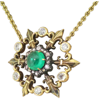 Victorian 1.88 Carat Cabochon Emerald & Diamond Pendant Necklace, circa 1900