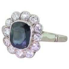 Mid Century 2.25 Carat Sapphire & Diamond Cluster Ring, circa 1950