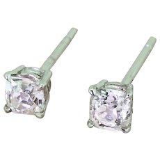 0.47 Carat Old Cut Diamond Stud Earrings, 18k White Gold