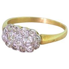 Edwardian 0.44 Carat Old Cut Diamond Double Cluster Ring, circa 1905