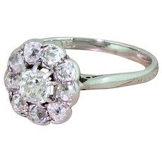 Art Deco 1.59 Carat Old Cut Diamond Cluster Ring, circa 1935