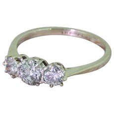 Art Deco 1.00 Carat Old Cut Diamond Trilogy Ring, circa 1940