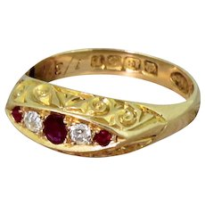 Edwardian Ruby & Old Cut Diamond Five Stone Ring, dated 1910