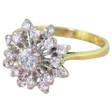 """Mid Century 0.48 Carat Brilliant Cut Diamond """"Starburst"""" Ring, circa 1965"""