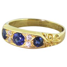 Edwardian 0.50 Sapphire & Old Cut Diamond Ring, dated 1908