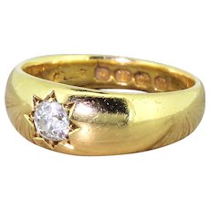 Victorian 0.33 Carat Old Cut Diamond Band Ring, dated 1887