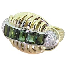 Retro Green Tourmaline & Diamond Cocktail Ring, circa 1945
