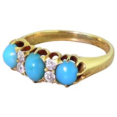 Victorian Turquoise & Old Cut Diamond Three Stone Ring, circa 1900